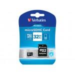 Carte Mémoire Micro SDHC VERBATIM 32 Gb Classe 10 + Adaptateur