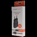 Pack Chargeur Secteur 1A + Cable Micro USB 1M Noir