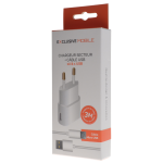Pack Chargeur Secteur 1A + Cable Micro USB 3M Blanc