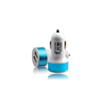 Chargeur Allume Cigare 2xUSB 2A Blanc/Bleu