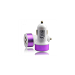 Chargeur Allume Cigare 2xUSB 2A Blanc/Violet