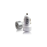 Chargeur Allume Cigare 2xUSB 2A Blanc/Argent