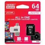Carte Mémoire Micro SD Good Ram 64Gb Classe 10+ Adaptateur + Lecteur de carte