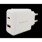 Chargeur Secteur Double 18W USB / Type C Blanc Blisté UVC
